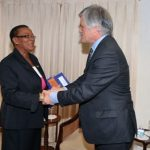 Senator Maxine McClean greets Australian High Commissioner-Designate to Barbados, John Pilbeam