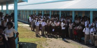 Students at the Basseterre High School (BHS)