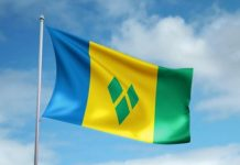 The flag of St. Vincent and the Grenadines