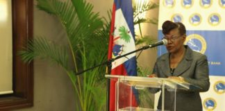 Dr. Idamay Denny, Portolio Manager, Social Sector Division, CDB, delivers remarks at the historic project launch workshop in Port-au-Prince on July 5, 2017.