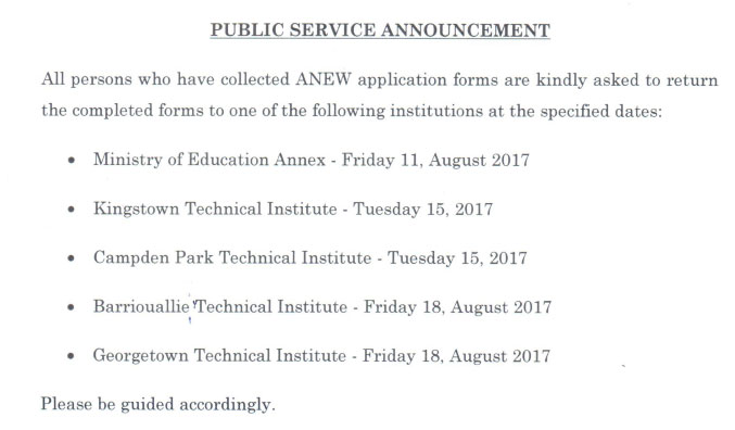 ANEW) - Application Forms Submission Dates