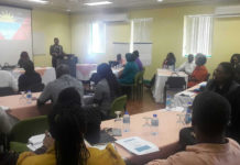 Labour Commissioner Mrs. Eltonia Anthony-Rojas addressing the participants of the workshop