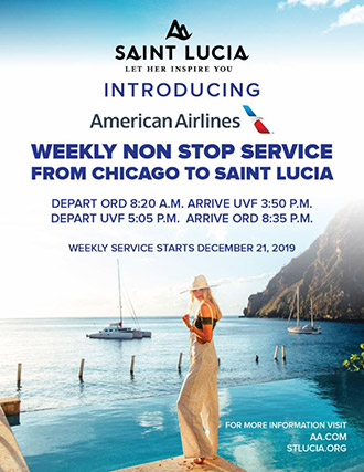 American Airlines Weekly Non - Stop Service From Chicago to Saint Lucia
