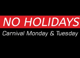 Carnival Monday and Tuesday are NOT Public Holidays