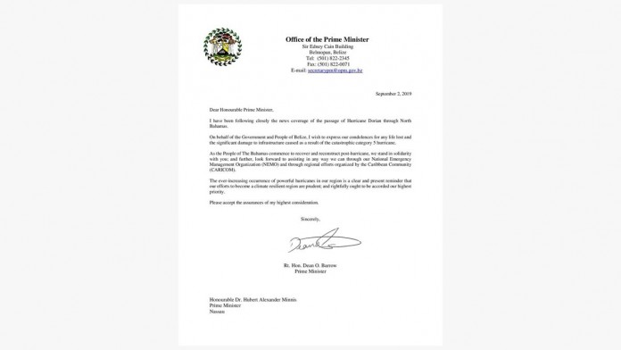 Solidarity Letter to the Prime Minister of The Bahamas
